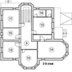 Планировка 2-го этажа коттеджа Stabilitas, КП Family Club