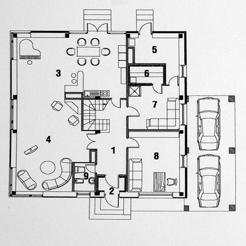 Планировка 1-го этажа коттеджа Perfectum, поселок Family Club