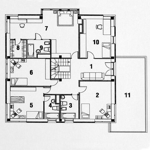 Планировка 2-го этажа коттеджа Perfectum, КП Family Club