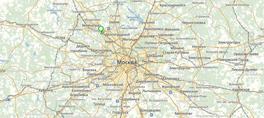 Расположение поселка Family Club на карте Подсмосковья